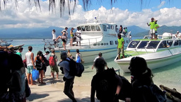 The arrival of tourists to Gili Air Island,Indonesia Footage