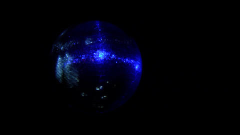 Night club atmosphere disco disco ball spinning and diffuses light blue - 043a Footage