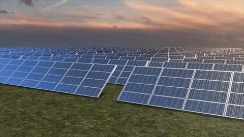 Aerial tracking shot of a solar farm Footage