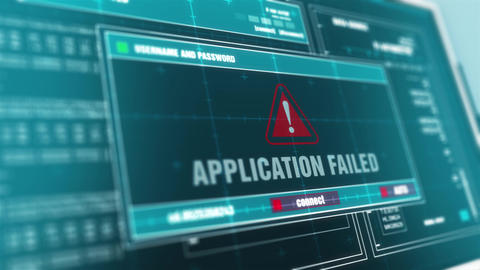 Application Failed Hacked Warning System Security Alert…, Stock Animation