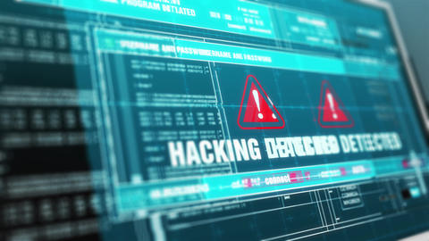 Hacking detected Hacked Warning System Security Alert error on Computer Screen Animation