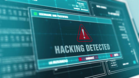 Hacking detected Hacked Warning System Security Alert…, Stock Animation