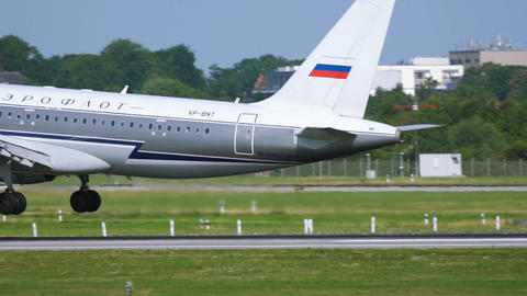 Aeroflot Airbus A320 with retro livery landing Footage