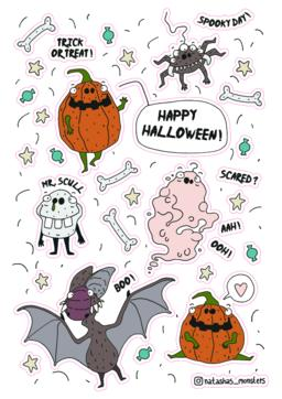 Happy Halloween Stickerlist Vector