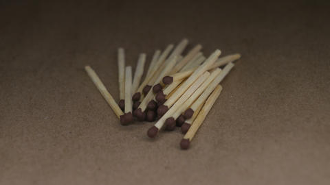Wooden matches on rotating table Footage