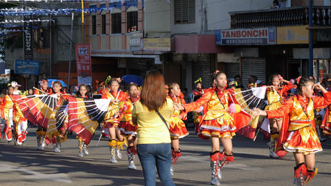 Colorful parade in the streets of Puerto Princesa City, Philippines Footage