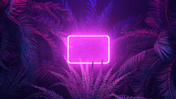 Purple neon glowing frame in tropical forest at windy night Animación