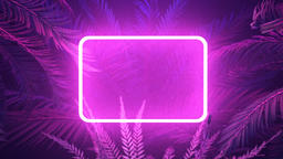 Purple neon glowing frame in tropical forest at windy night Stock Video Footage