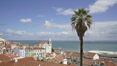 A panoramic view of Largo das Portas do Sol in Lisbon Footage
