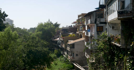 Houses built on a hillside overlooking lush trees and a river Footage