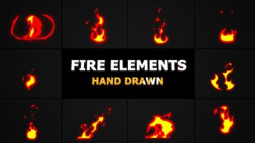 Cartoon Fire Elements After Effects Template