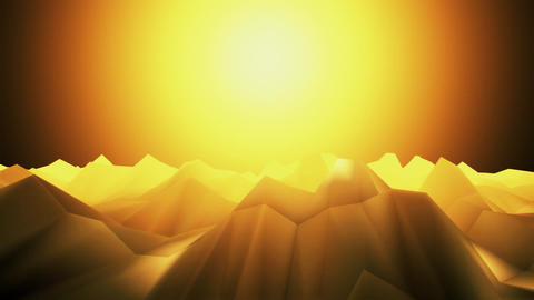 3D Orange Low Poly Mountains Loopable Background Forward Motion CG動画