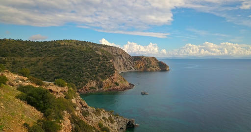 Aerial panoramic view of mountains and sea on Aegina island, Greece on sunny day Footage