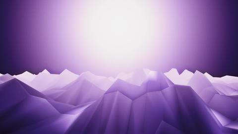 3D Purple Low Poly Mountains Loopable Background Forward Motion CG動画