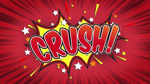 Crush Word Retro Cartoon Comic Bubbles Seamless loop ( green Screen ) CG動画