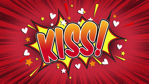 kiss Word Retro Cartoon Comic Bubbles Seamless loop ( green Screen ) Animation