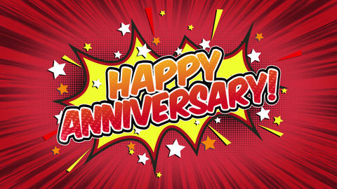 Happy Anniversary Word Retro Cartoon Comic Bubbles Seamless loop ( green Screen Animation