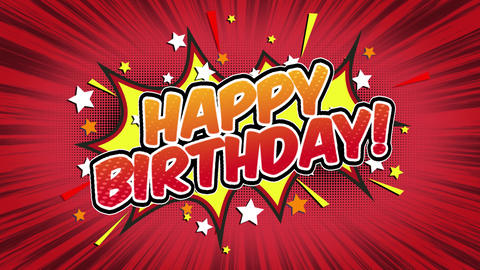 Happy Birthday Word Retro Cartoon Comic Bubbles Seamless loop ( green Screen ) Animation