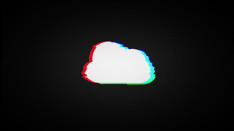 cloud computing, old tv screen Animation