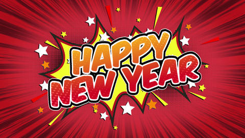 Happy new year Word Retro Cartoon Comic Bubbles Seamless loop ( green Screen ) Animation