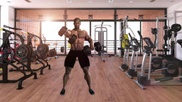African man exercising in gym ,loop,animation GIF