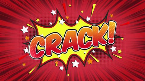 Crack Word Retro Cartoon Comic Bubbles Seamless loop ( green Screen ) Animation