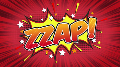 Zzap Word Retro Cartoon Comic Bubbles Seamless loop ( green Screen ) Animation
