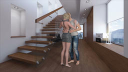 couple kisses against the background of a modern interior,Loop, Animation Animation
