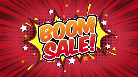 boom sale Word Retro Cartoon Comic Bubbles Seamless loop ( green Screen ) Animation