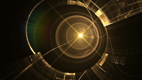 Golden Metal Gear Wheels with Rays, Ancient Clock Mechanism Animation