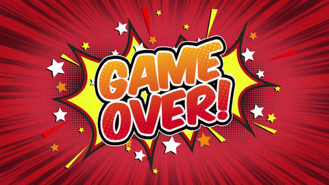 Game over Word Retro Cartoon Comic Bubbles Seamless loop ( green Screen ) Animation