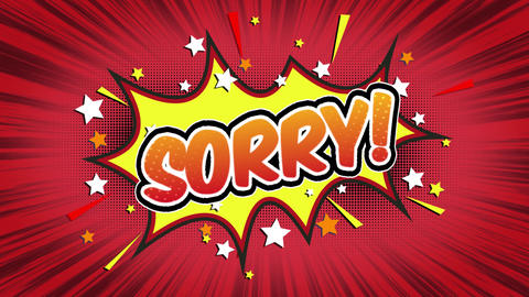 Sorry Word Retro Cartoon Comic Bubbles Seamless loop ( green Screen ) Animation