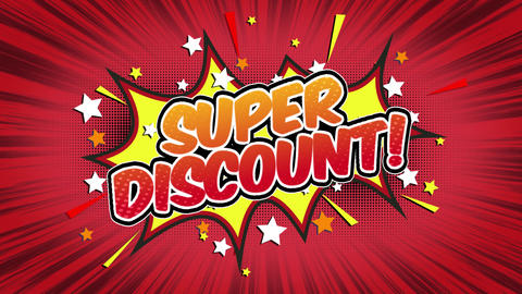 Super discount Word Retro Cartoon Comic Bubbles Seamless loop ( green Screen ) Animation