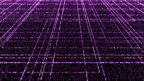 Grid of purple glowing particles CG動画