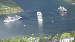 Norway Geiranger cruise ships in fjord seen from Ørnesvingen observation point Footage