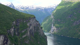 North Europe Norway Geiranger view into fjord with seven sisters waterfall Footage