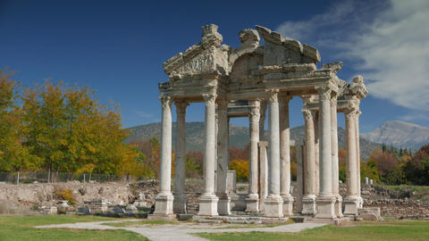 Ancient ruins of famous Tetrapylon Gate in Aphrodisias, Archeological park in Archivo
