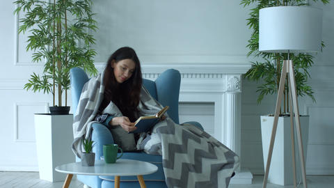 Pretty woman reading a book in armchair at home Image