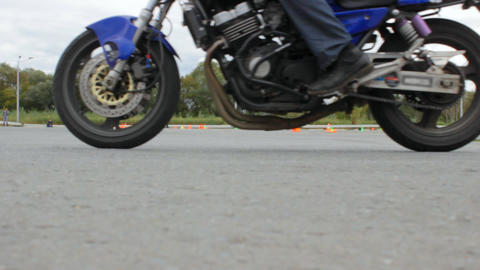 Competition in Moto gymkhana, motorcycle stop at the finish line Footage