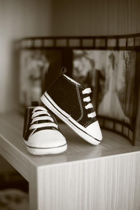Black and white photo of very small children's Keds Photo