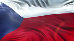 Flag of Czech Republic waving on sun. Seamless loop with highly detailed fabric Animation