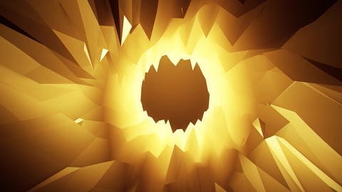 Gold 3D Low Poly Crystal Cave Tunnel Loopable Motion Background CG動画