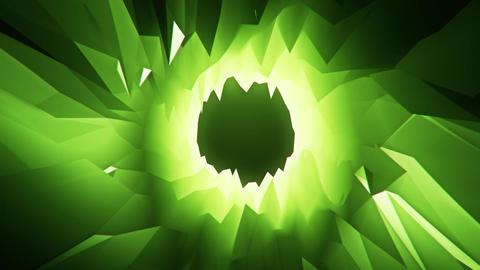 Green 3D Low Poly Crystal Cave Tunnel Loopable Motion Background CG動画