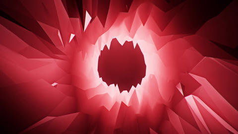 Red 3D Low Poly Crystal Cave Tunnel Loopable Motion Background CG動画