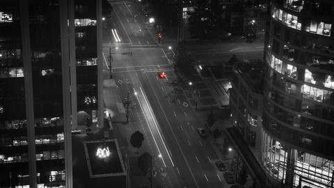 Black And White Vancouvere Traffic Time Lapse Image