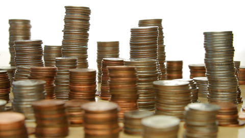 Camera Moves Past Stacks Of Coins Archivo