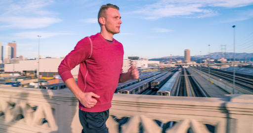 Athletic Male Jogging Los Angeles Slow-Motion Archivo