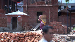 Work wears bricks in Kathmandu Nepal Footage