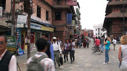 Happy people walk on streets of Kathmandu in Nepal Footage