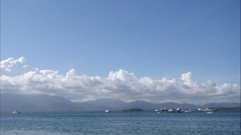Baywalk vieuw over port with boats of Puerto Princesa, time lapse Footage
